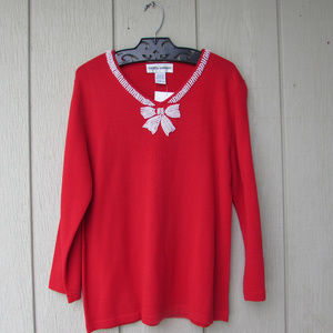 Red V-Neck Sweater w/ Hand Beaded Bow Neckline!
